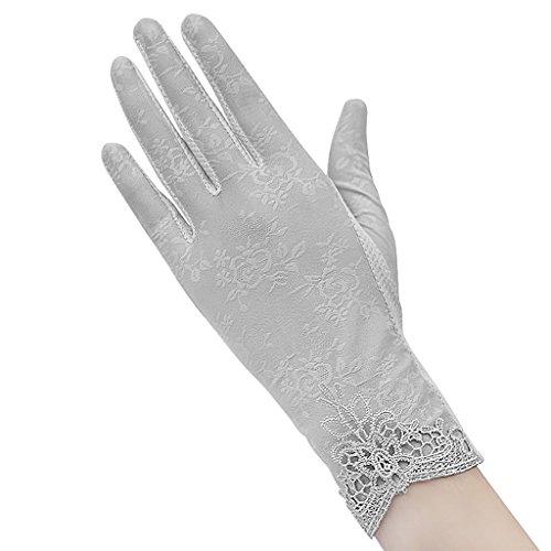レディース UVカット 手袋 スマホ対応 メッシュ 日焼け止め手袋 かわいい 冷感 グローブ ショート 夏用 薄型 手袋 紫外線カット 運転 自転車 滑り止め付き グレーグレー