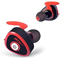 【在庫一掃セール】OKCSC ブルートゥース イヤホン スポーツ ワイヤレス 高音質 カナル型 片耳 両耳とも対応 マイク付き 0362 (レット)