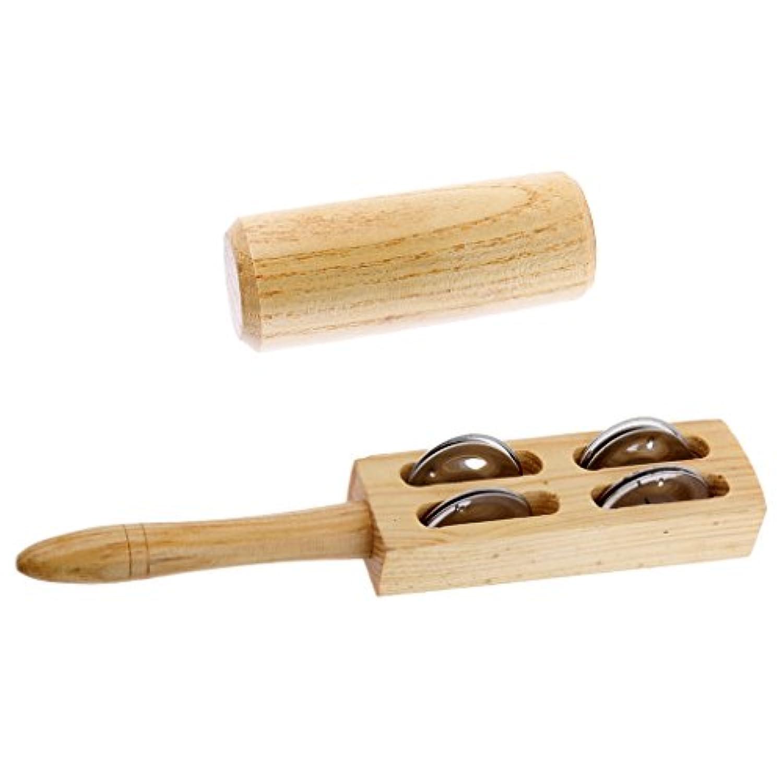 Fenteer 2個 砂マラカ ラトル ハンドベル シェーカー コンボセット 赤ちゃん 子供 音楽教育玩具