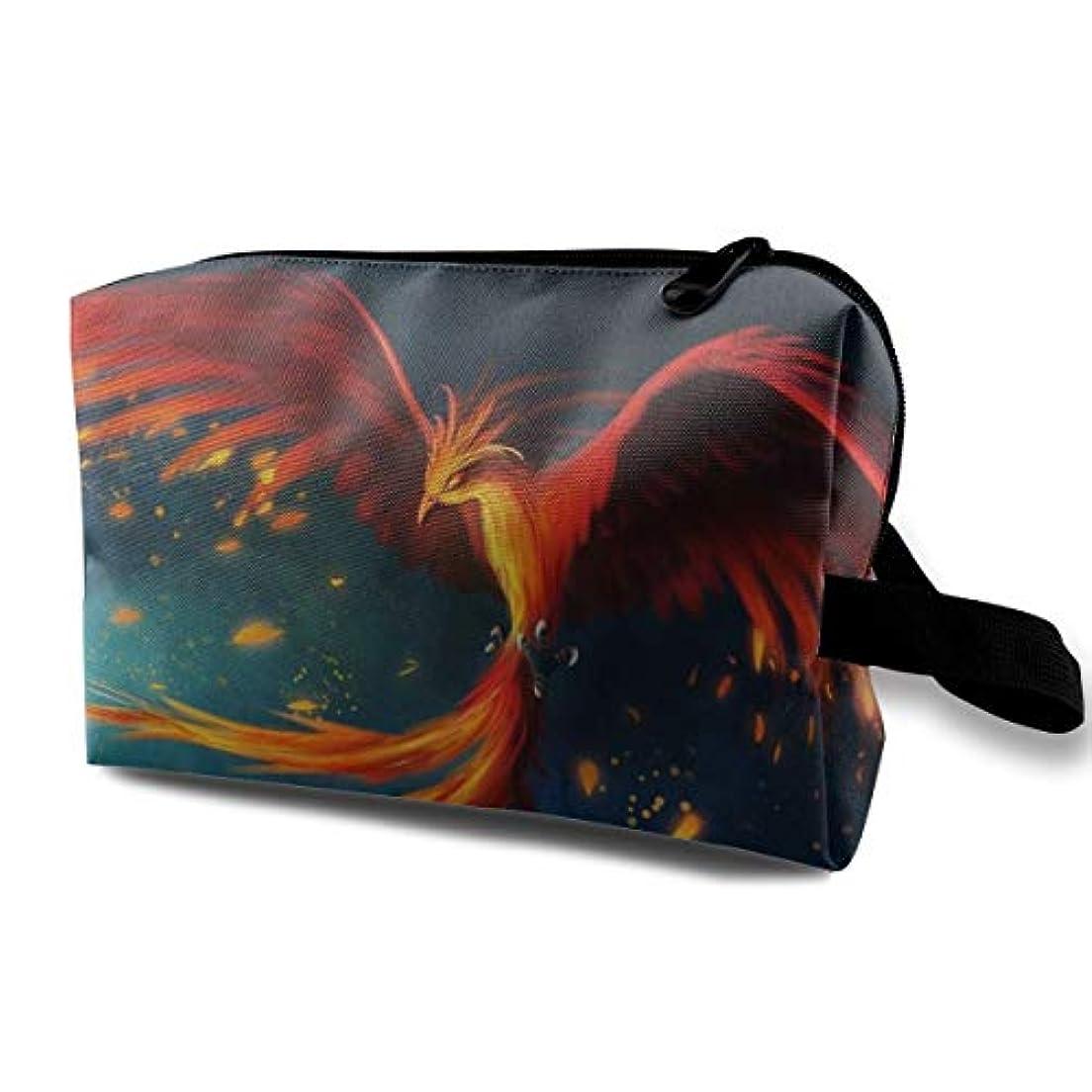 代名詞色合いめんどりAbstract Red Phoenix 収納ポーチ 化粧ポーチ 大容量 軽量 耐久性 ハンドル付持ち運び便利。入れ 自宅?出張?旅行?アウトドア撮影などに対応。メンズ レディース トラベルグッズ