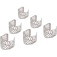 6個入り ナプキンリング 中空の花 ナプキンホルダー 結婚式 披露宴 バックル テーブル装飾 ナプキンティッシュ リング パーティー ディナー 食器飾り キラキラ