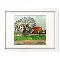 エドヴァルド・ムンク Edvard Munch 「Trees with red roof」 額装アート作品