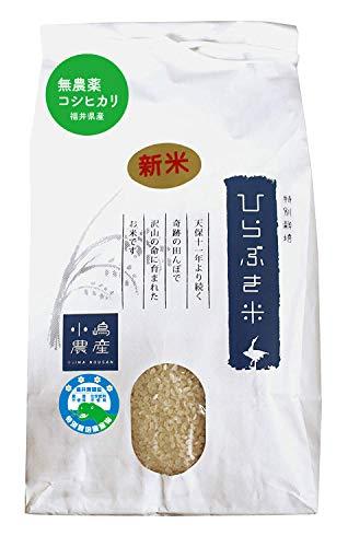 【無農薬】産地直送 福井県 白米 コシヒカリ(ひらぶき米)30kg 令和元年産