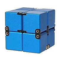 Xiaohan無限キューブ 高品質 金属アルミニウム合金 任意の方向と角度から回転でき ストレス消し 減圧玩具 フォーカス玩具マジックおもちゃ パズルおもちゃ (青)