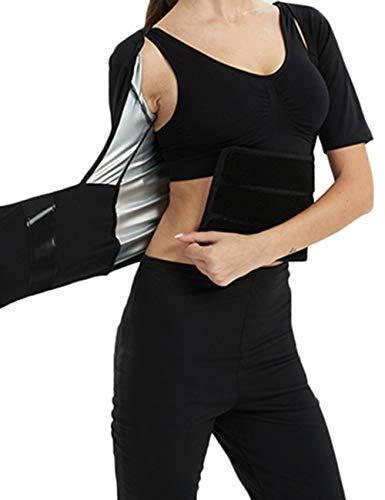 発汗サウナスーツ レディース ダイエットウェア コンプレッションタイツ シェイプアップ 脂肪燃焼 XL, 上着