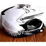 Fashion Motocross Helmet, Cross Country Helmet, Full Face Helmet, Creative Monster Helmet, Anti-Fall Helmet Pretty (Color : White, Size : M)