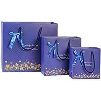 (pkpohs) 花束のような紙袋 ギフトバッグ [5枚セット +メッセージカード ] 選べる サイズ デザイン プレゼント ラッピング 紙袋 (M, ネイビー/手提)m