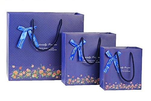 (pkpohs) 花束のような紙袋 ギフトバッグ [5枚セット +メッセージカード ] 選べる サイズ デザイン プレゼント ラッピング 紙袋 (S, ネイビー/手提)s