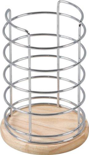 不二貿易 ワイヤー&木製キッチンツールスタンド キッチン雑貨シリーズ 天然木 ナチュラル 75711