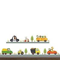 Chirstseason ウォールステッカー 動物の運送チーム 車 トラック バス 街 インテリア キッチン リビング 玄関 廊下 店舗装飾 子供部屋 幼稚園 保育園用 壁紙 シール ウォールシール