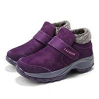 女性の雪のブーツ、毛皮の裏地暖かい冬のブーツ防水滑り止めベルクロコットンブーツ高層スニーカー軽量足首ブーツハイキング靴,Purple,40EU