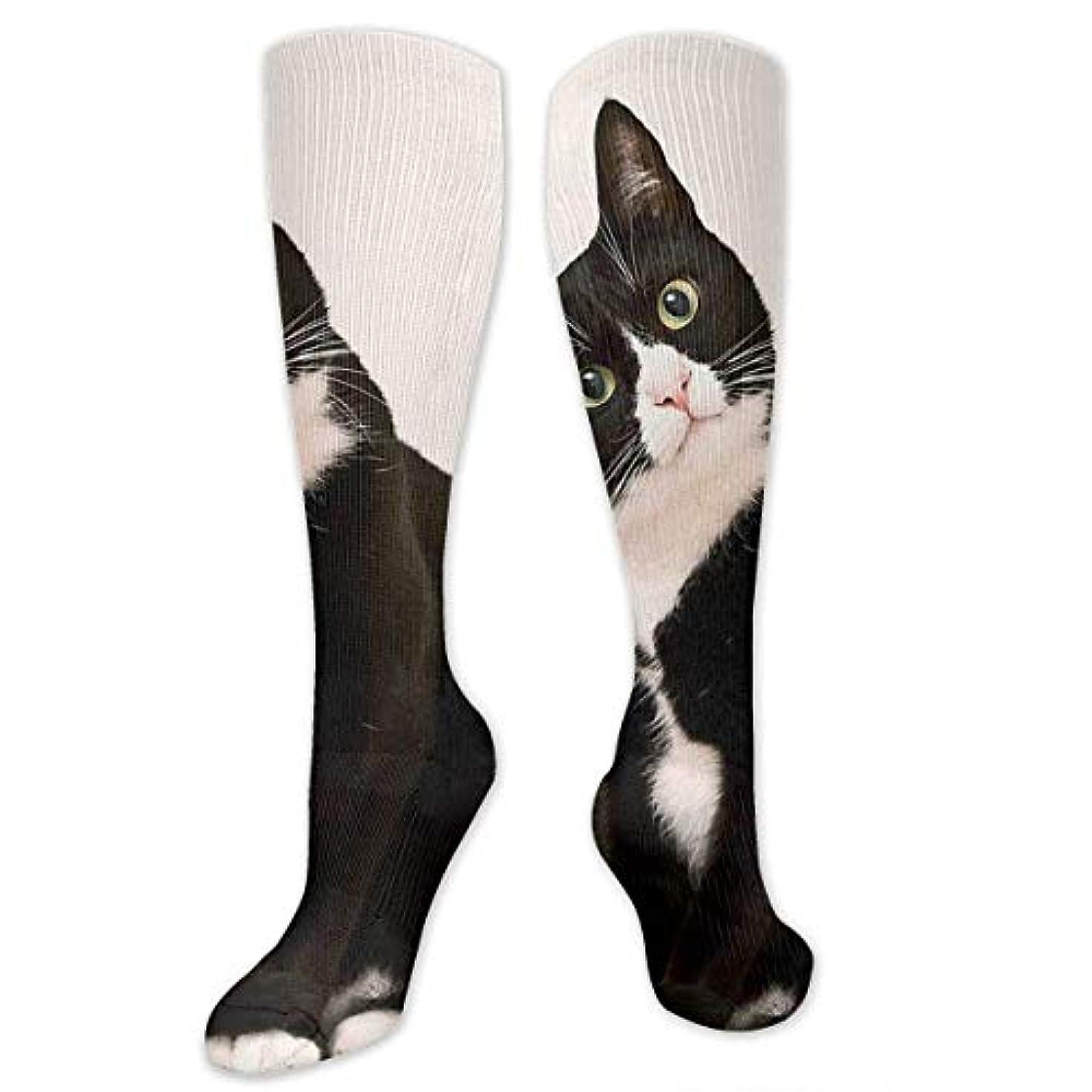 ディベート噂ディベートストックフォト- Qrriyレディース黒と白猫ソフトクリスマス膝高ストッキングスリッパソックス、クリスマス楽しいカラフルな靴下