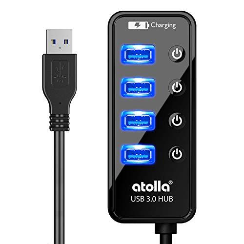 『atolla USB3.0ハブ 4ポート5Gbps高速データ転送 USB HUB 3.0 の 増設 + 1充電ポート、独立スイッチ付 バスパワー』のトップ画像