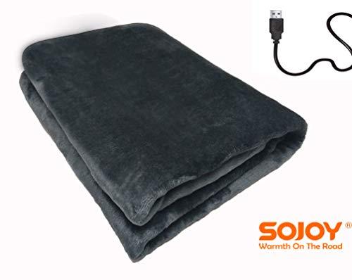 SOJOY 電気毛布 電気ブランケット USB電源式 5V/2A 肩掛け ひざ掛け毛布 暖房器具 テント泊用 70x110cm