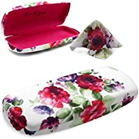 MyEyeglassCase Hard Eyeglass Case For Women Medium Clam Shell Case For Men With Cleaning Cloth