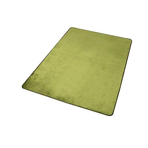 心地よいサラふわ触感 ラグ カーペット 洗える フランネル 130×185 約1畳 グリーン ホットカーペット対応 滑り止め付き 抗菌防臭