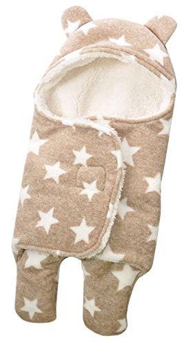 ange select ベビー おくるみ 星 柄 ふわふわ クマさん 新生児 出産祝 スリーパー (ブラウンA(大))