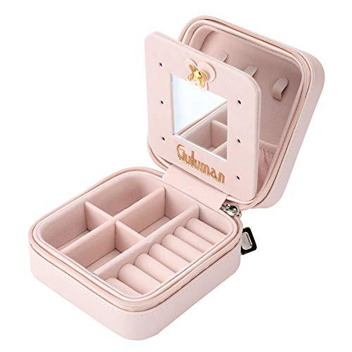 Guluman® ジュエリー ボックス 可愛い アクセサリー ケース 携帯用 誕生日 プレゼント 女性 (pink)