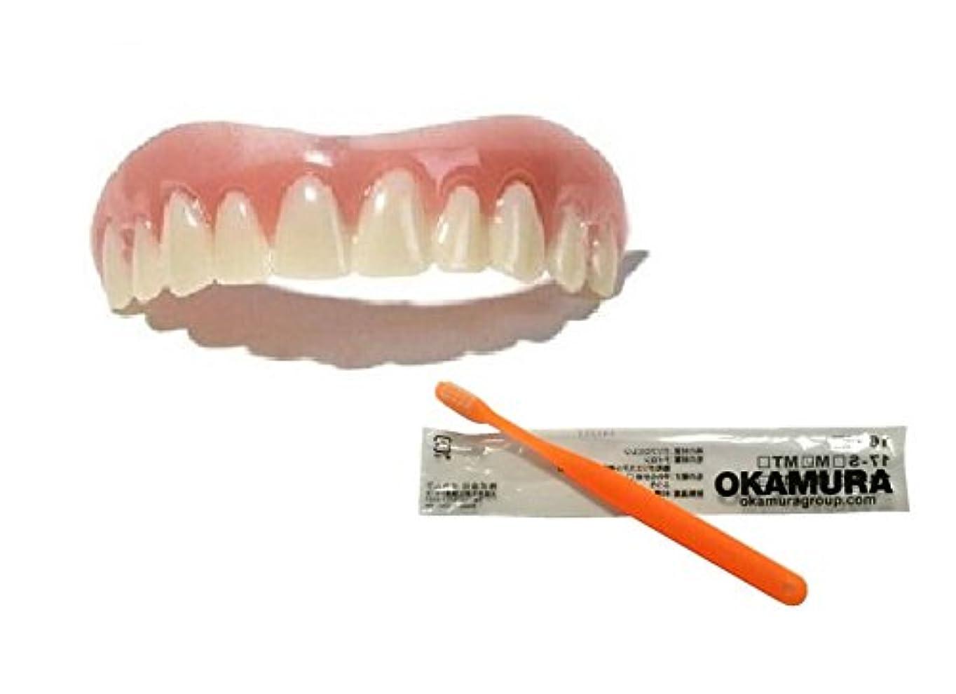 周辺サンダルアルカトラズ島インスタントスマイル 上歯用 Mサイズ + OKAMURA 歯科医推奨歯ブラシ セット