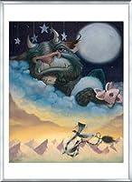 ポスター レスリー ディトー Sleep Monster 額装品 アルミ製ベーシックフレーム(シルバー)