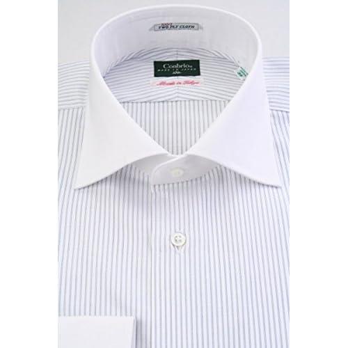 (コンブリオ) Conbrio ブルーのレールストライプ 100番手双糸 クレリック ワイド (細身) ドレスシャツ wd4085-4386