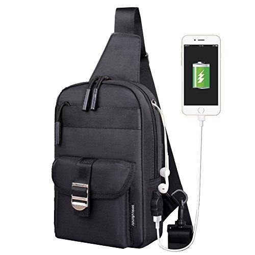 [RSWHYY] メンズ ショルダーバッグ バッグ 学生 ファスナー マグネット スナップ おしゃれ USB充電ポート 就職 ブラック