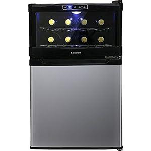 エスキュービズム 冷蔵庫一体型ワインクーラー 1度ステップ庫内温度設定 ワインボトル8本 冷蔵庫45L SCW-208S