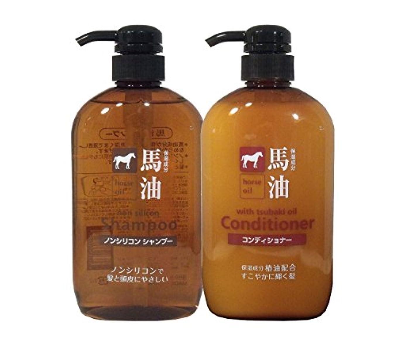 熊野油脂 馬油シャンプー & コンディショナー 各600ml