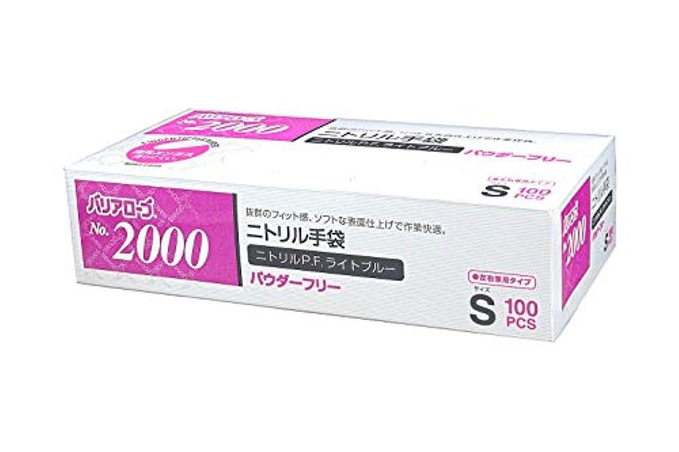呼ぶ遠え感情【ケース販売】 バリアローブ №2000 ニトリルP.F.ライト ブルー (パウダーフリー) S 2000枚(100枚×20箱)