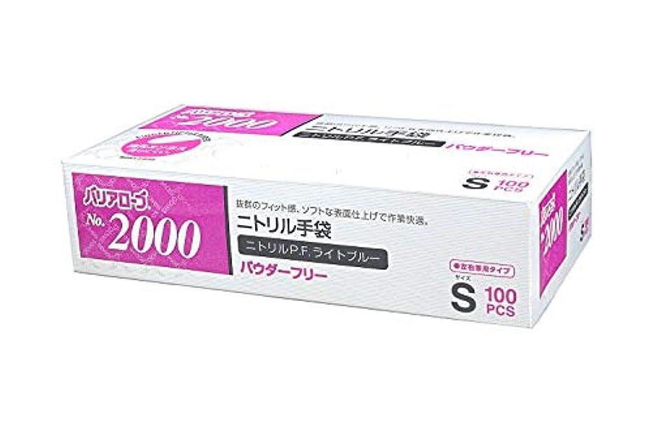 ダメージハチ水素【ケース販売】 バリアローブ №2000 ニトリルP.F.ライト ブルー (パウダーフリー) S 2000枚(100枚×20箱)