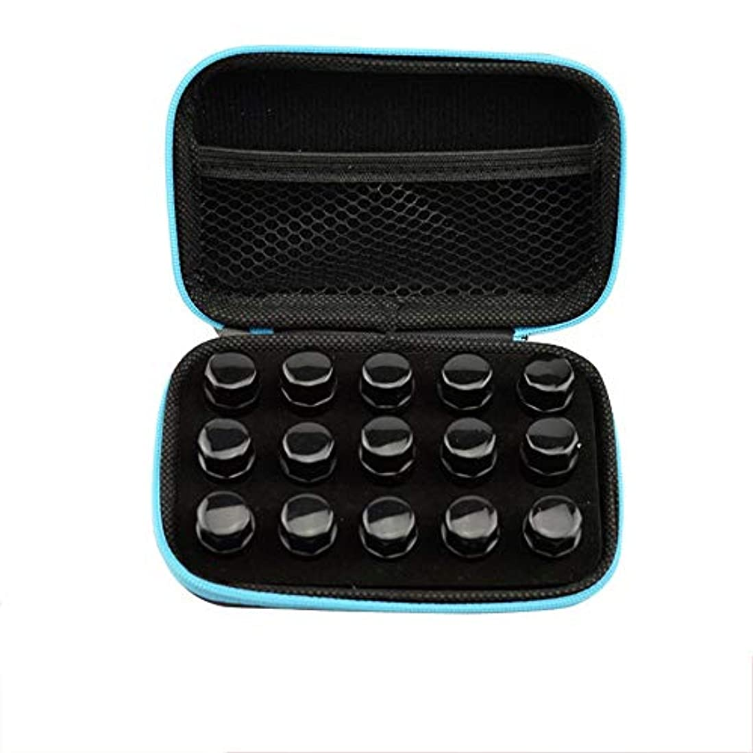 スワップアッティカス現実的エッセンシャルオイル収納ボックス 顔のハードシェルの外部ストレージ統合袋の上に精油ロール十分な量の15スロット、ミニローラーボトルケースレザーケース完璧なパッケージ 丈夫で持ち運びが簡単 (色 : ブラック, サイズ :...
