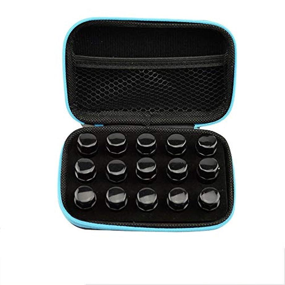 個性ハブ泥棒エッセンシャルオイルボックス 顔のハードシェルの外部ストレージ統合袋の上に精油ロール十分な量の15スロット、ミニローラーボトルケースレザーケース完璧なパッケージ アロマセラピー収納ボックス (色 : ブラック, サイズ : 8.5X13.5X4.5CM)