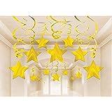 AIYANG ゴールド 星 吊り下げ 渦巻き 装飾 星 ストリーマー 天井装飾 パーティー イベント 部屋 装飾