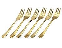 Appetizer/サラダ/デザートフォークセット、打ち出しデザイン - ゴールド - 6個セット