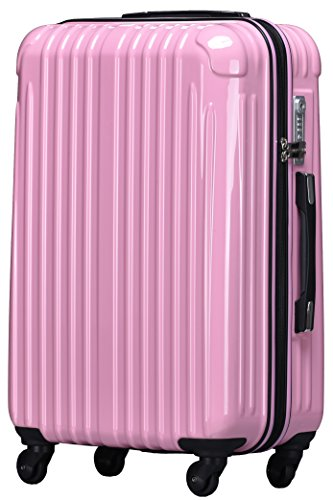 TY001小型(ラッキーパンダ) Luckypanda TY001 スーツケース 機内持込 超軽量 tsaロック ファスナータイプ ハード キャリーバッグ キャリーケース 軽量 Suitcase (Sサイズ(2~3日の旅行向け), ピンク)