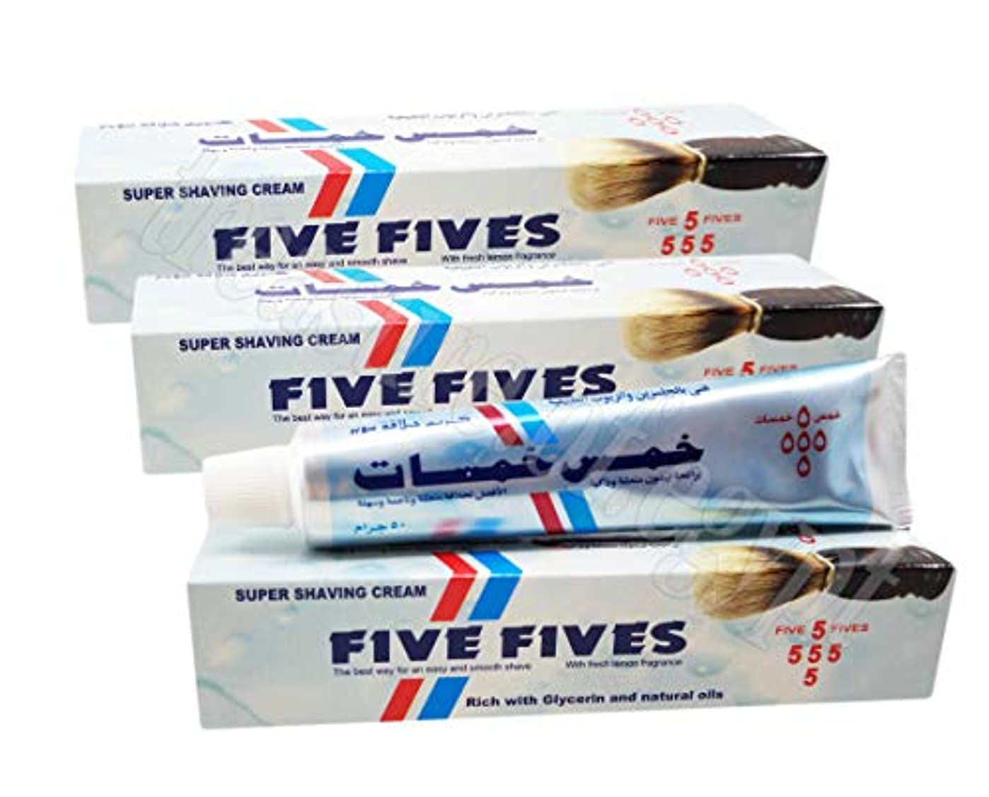 紫のゆりコントラストFive Fives Super Shaving Cream Men Smoothing Toiletries Lather Shave Skin with Menthol & Glycerin & Coconut Oil...