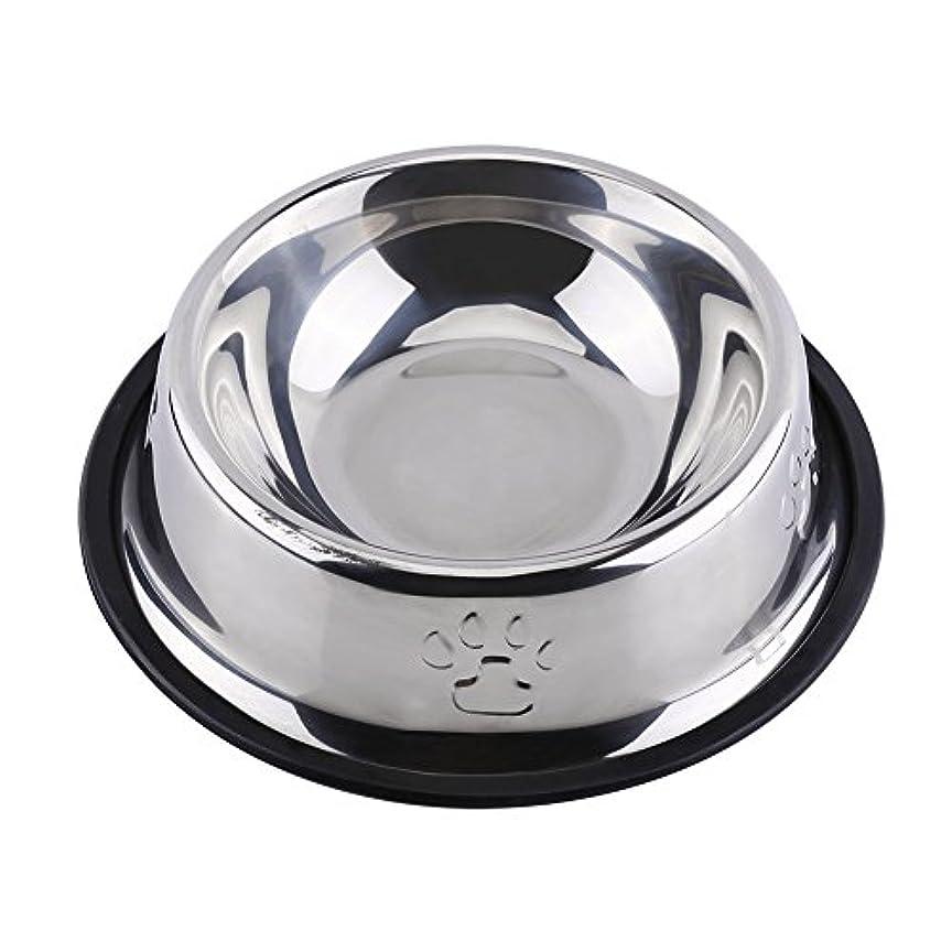 無駄盲信リークEjoyousペット用食器 犬猫用 ボウル ステンレス製 滑り止め 水入れ 餌入れ(18cm)