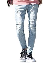 JIGGYS SHOP ダメージジーンズ メンズ デニムパンツ スーパーストレッチ スキニー 細身