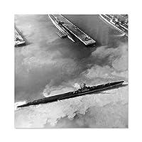 War WWII USA Navy Submarine Midway Atoll 1945 Photo Premium Wall Art Canvas Print 24X24 Inch 戦争第二次世界大戦アメリカ合衆国海軍写真壁