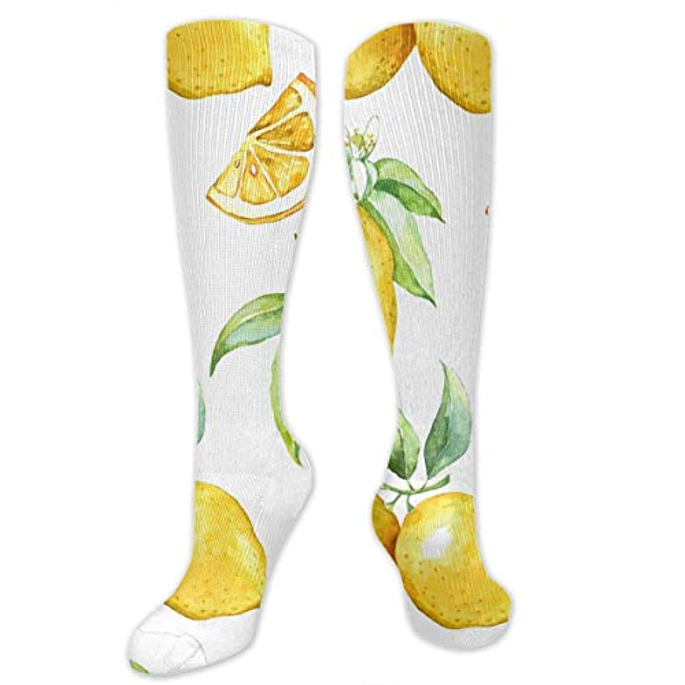 ホステス騒乱コスチューム女性の男性のためのQrriy 3 Dレモン圧縮靴下-スポーツスポーツクロスフィットフライト旅行妊娠看護師(20-30 mmhg)を実行するためのフィット