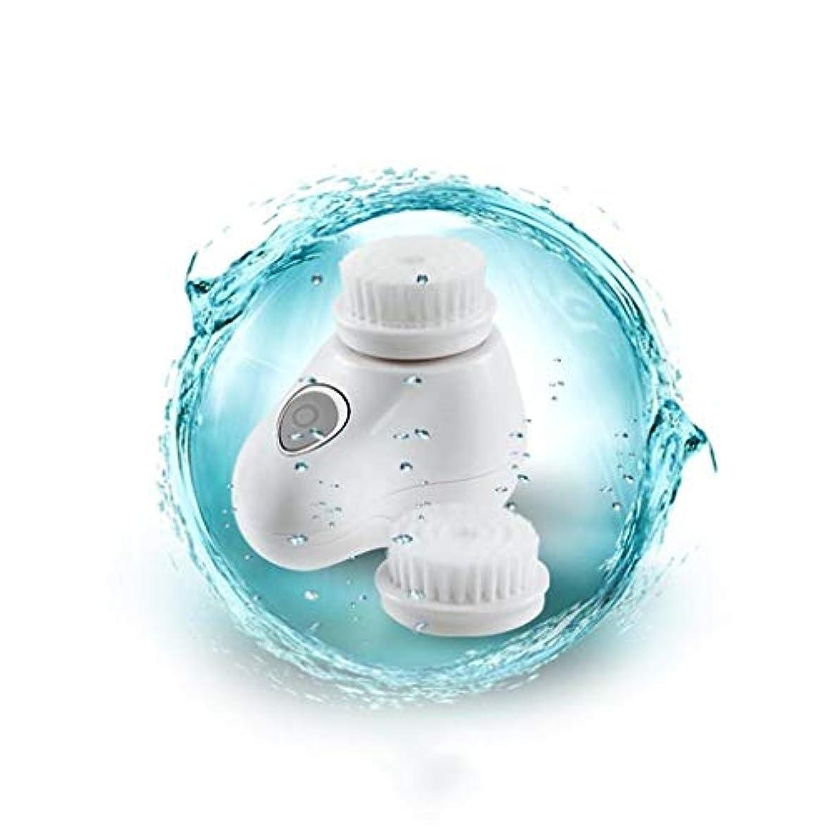 深くびん国際ソニックフェイシャルクレンジングブラシ、電動ビューティーマッサージブラシディープフェイシャルマッサージャーポアクリーナー (Color : White)