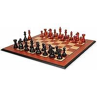 Fierce Knight Stauntonチェスセットエボニー&でAfrican Padauk with Molded Padaukチェスボード – 4