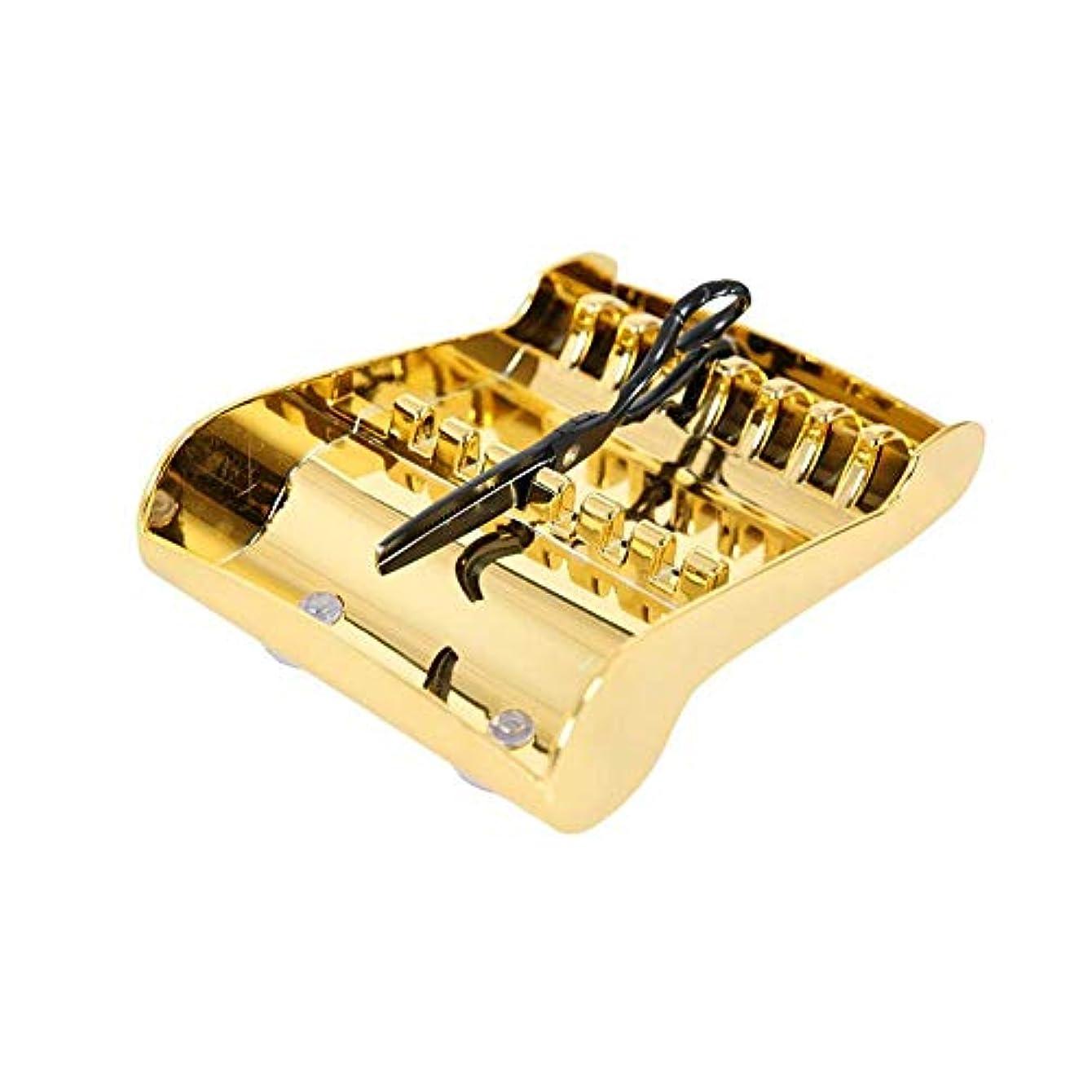 挨拶敬の念指定するはさみのディスプレイラック毎日のはさみ収納ラックツールホルダー用ヘアスタイリスト20.5 13.8 5.5Cm(ゴールド)