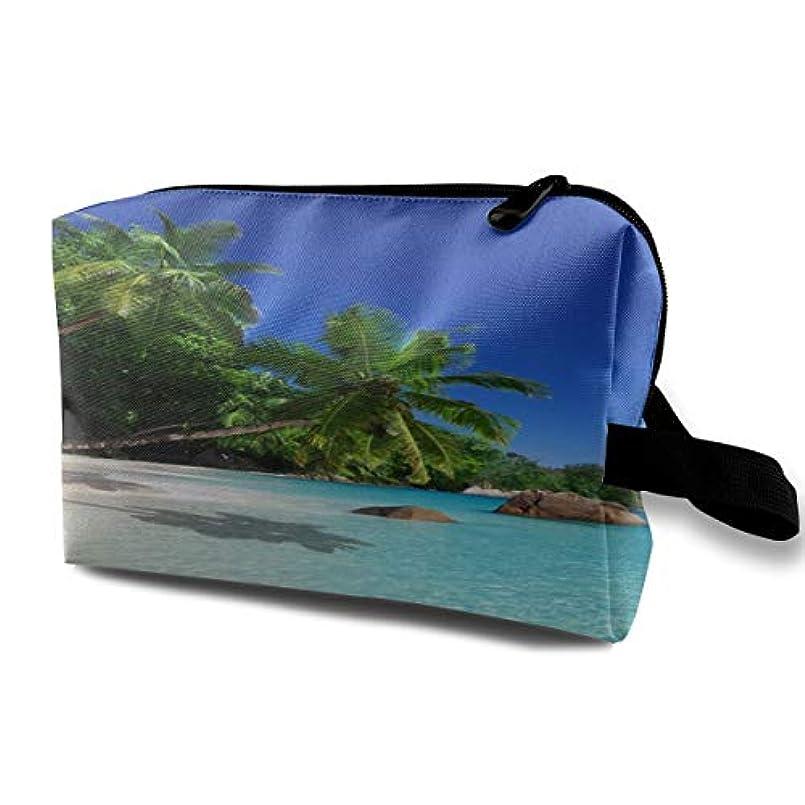 グロー親ビジョンTropical Sunshine Beach 収納ポーチ 化粧ポーチ 大容量 軽量 耐久性 ハンドル付持ち運び便利。入れ 自宅?出張?旅行?アウトドア撮影などに対応。メンズ レディース トラベルグッズ