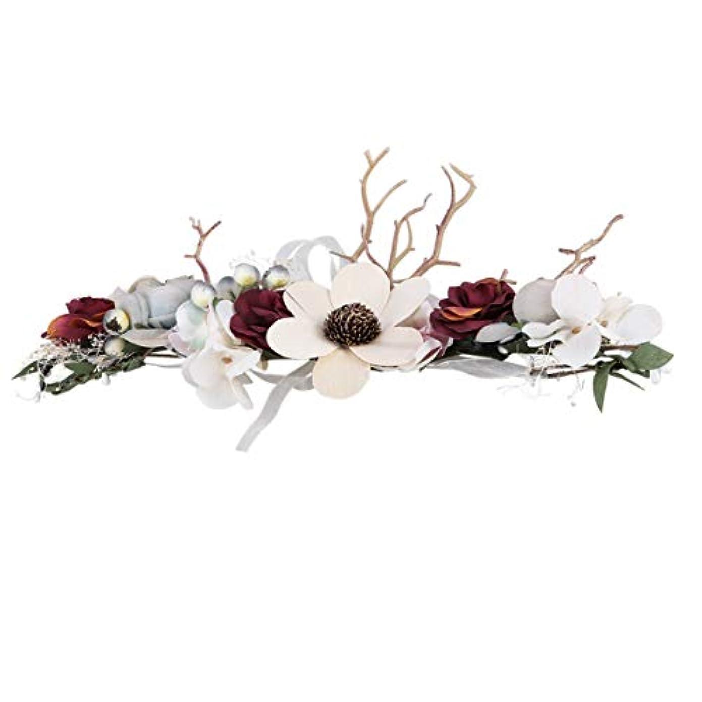 定刻シリンダー胸Lurrose クリスマスフローラルヘッドバンド枝角花冠結婚式花冠髪の花輪