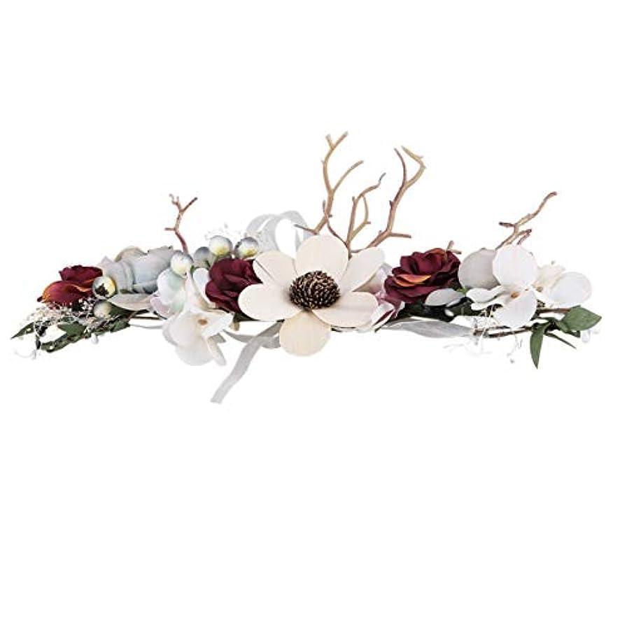 の前でフリース予言するLurrose クリスマスフローラルヘッドバンド枝角花冠結婚式花冠髪の花輪