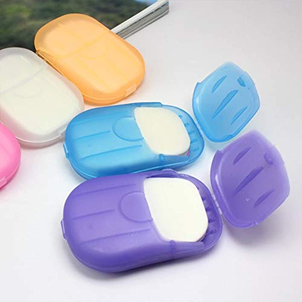 ピック外出執着20 Pcs Paper Soap Outdoor Travel Bath Soap Tablets Portable Hand-washing