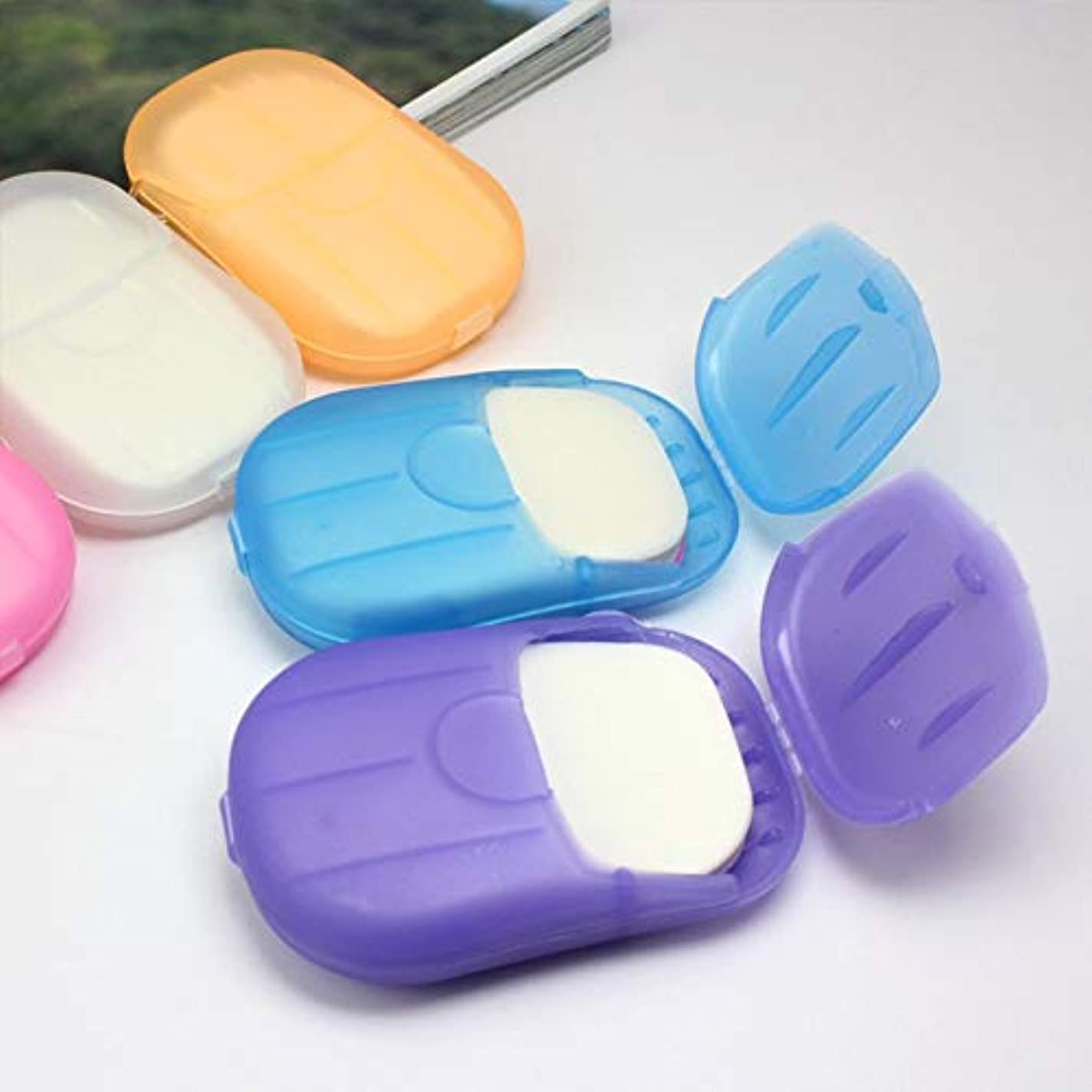 調子チキン削除する20 Pcs Paper Soap Outdoor Travel Bath Soap Tablets Portable Hand-washing