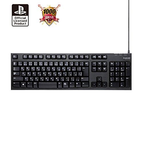 ELECOM PS4/PS3用 メンブレン式キーボード [ドラゴンズドグマオンライン推奨] 108キー USB Lサイズ 1000万回高耐久 テンキー付き 購入特典付き ブラック TK-DD01BK