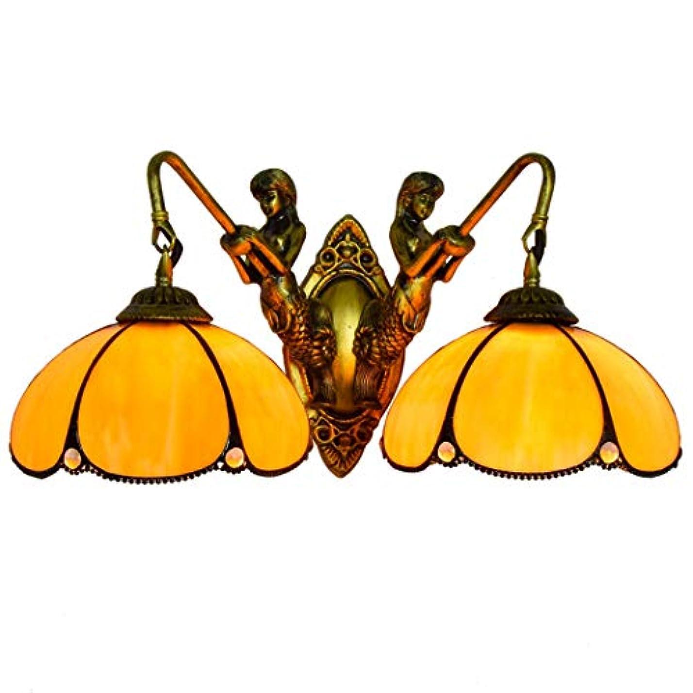 欺アラブ人咳ティファニースタイルウォールランプシンプルな黄色ハーフベンドガラスシェード寝室のベッドサイドの壁ライトリビングルーム研究、E27のアンティーク樹脂ベース,110v,8Inch